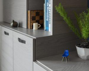 Gray Oak Cabinet Wall